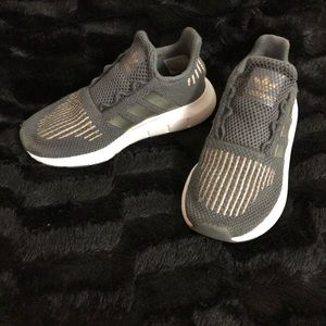 adidas Shoes - Gray w/ Gold ADIDAS Running Shoes! Kids Size 11c!